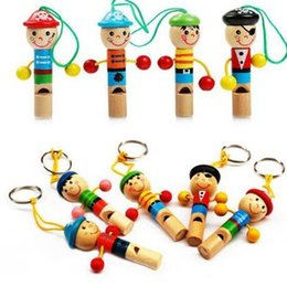 Wholesale Wooden Keyrings - Boy Pirate Whistle Wooden Whistling Educational Toys Child Whistle Toys Child Gift Musical Instrument Whistle With Keyring Toys KKA3371