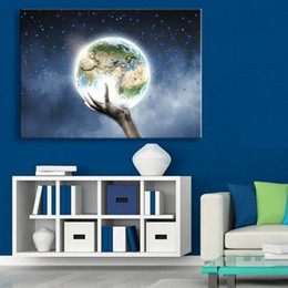 Wholesale Living Earth - Free Shipping Wall Art Earth On My Hand LED Canvas Spray Painting Light Up Framed Artwork Decoration Bedroom   Living Room