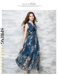 Wholesale Plus Size Womens Elegant Clothing - 2017 Womens Summer Elegant Beach Chiffon Clothing Ladies Bohemian Dress Ball Gown Print Maxi Long Dress Plus Size Vestidos