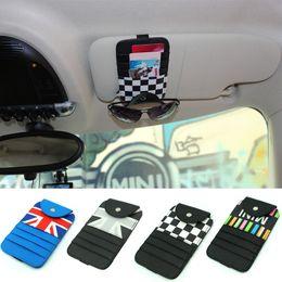 Wholesale Car Sunglasses Case - Car Styling Sun Visor Sunglasses Case Ticket Bills Card Holder Fastener Clips for Mini Cooper R52 R53 R555 R56 R60 F55 F56 Countryman