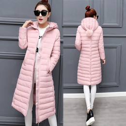Wholesale Korean Girl Down Jacket - New Korean Winter Coat Thick Padded Knees Down Girls Long Slim Was Thin Cotton-padded Jacket Winter Coat