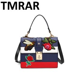 Wholesale Design Shoulder Pu - Wholesale- New Leather embroidery bee padder women lock handbags lady satchel color bang design hot and chic girls shoulder bags M1970
