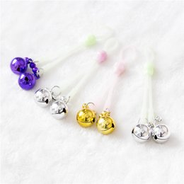 Wholesale Bell Sex Toys - 2017 1 Pair Sexy Luminous Nipple Clamps Small Bell Adult Game Fetish Flirting Teasing Sex Toys Bound toys Silicone Bell Skull Clamps