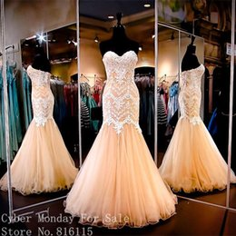 Wholesale Sexy Gorgeous Crystals - Gorgeous Sweetheart Off the Shoulder Lace Appliques Long Evening Dresses 2017 High Quality Mermaid Evening Dress Formal Gowns