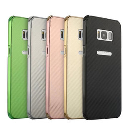 Wholesale Carbon Pouch - Shockproof Carbon Fiber Hybrid Case For Iphone 7 Galaxy S8 Plus,For Sony XZ XZS For LG G6 V20 Hard PC Metal Bumper Defender 2in1 Frame Cover