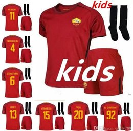 Wholesale 17 kids kit new ROMAS home Francesco totti special edition commemorative EL SHAARAWY home kids soccer jersey