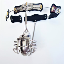 Wholesale Newest Chastity Devices - Newest Male Chastity Devices Adjustable Stainless Steel Curve Waist Chastity Belt with Full Closed Winding Cock Cage BDSM Sex Toy