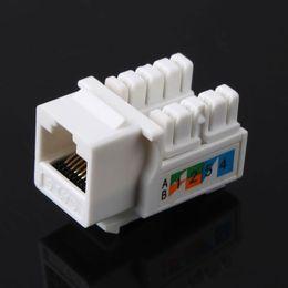 Wholesale Rj45 Jacks - CAT6 RJ45 110 Punch Down Keystone Network Ethernet Jack Stand Ethernet Module Internet In-line Cable Adapter Coupler White
