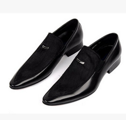 Wholesale Italy Designer Shoes - Italy mens shoes casual genuine leather with fur black business office designer slip on shoes for men flats