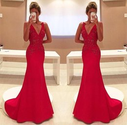 Wholesale Bridal Formal Wear - 2017 Gorgeous Red Mermaid Evening Dresses Sexy V Neck Appliques Long Party Prom Gowns Celerity Formal Wear Bridal Reception Dresses BA4462