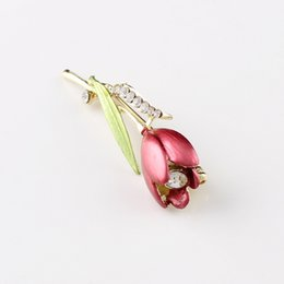 Wholesale Anniversary Deliveries - Drip diamond brooch tulip flowers High-grade pin drawing metal brooches accessories business gift market fast delivery
