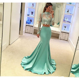 Wholesale Ladies One Piece Dresses Pictures - 2017 2 pieces mermaid Prom Dresses with see-through long sleeves high neck Sexy lady evening dresses