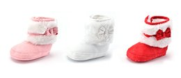 Wholesale Christmas Costumes For Teenage Boys - Red Pink Fleece Lined Baby Christmas Boots Shoes Infant First Walker Winter Warm Anti-Slip Indoor Boots for Boy Girls New Years