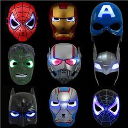 nova máscara de homem-aranha Desconto 2017 new LED Máscara Flash Crianças Máscaras de Halloween Máscara de Iluminação de Incandescência Hulk Capitão América Batman Ironman Spiderman Máscara Do Partido