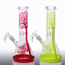 Wholesale 2017 Beaker base water pipes glass bong tree designed glass bongs ice catcher mm thick glass for smoking with mm Ox horn bowl