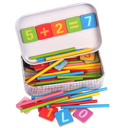 Wholesale Toy Wood Iron - Wholesale- New Arrival Baby Toys Magnetic Iron Box Counting Stick Wooden Toys Educational Arithmetic Rods Math Toys Child Birthday Gift