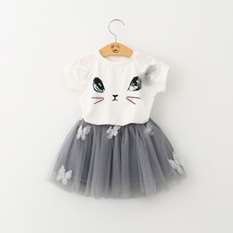 Wholesale New Tshirt For Girl - Kids Clothing Sets Summer Baby Clothes for Girls Outfits Toddler Fashion Cat Print Tshirt Tulle Skirt Children Suits New