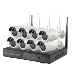 Wholesale Outdoor Cctv - 8CH CCTV System Wireless 720P NVR 8PCS 1MP IR Outdoor P2P Wifi IP CCTV Security Camera System Surveillance Kit 1TB HDD