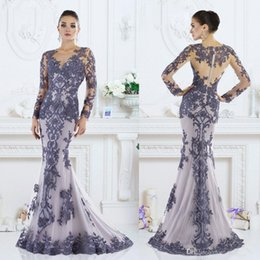 Wholesale Prom See Through Dress Beads - 2017 New Long Sleeves Mermaid Mother's Dresses Sheer Lace Appliques Beaded Long Prom Evening Party Gowns with See Through Back