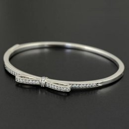 Wholesale Hinged Clasp - High-quality 925 Sterling Silver Hinged Sparkling Bow Bangle with Clear CZ for European Charms and Beads