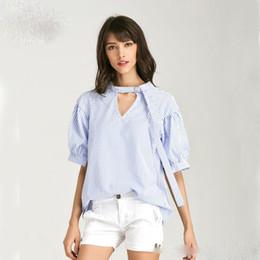 Wholesale Chiffon Lapel - Summer 2017 Hot Selling Crew Neck Women Shirts Striped Casual Sun-top Leisure Style Shirts Women's Blouses & Shirts
