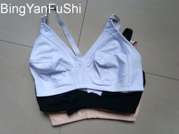 Wholesale D Pads - womens wire free plus size bra no padded V secret seamless mothers bras breathable 40 - 48 D E F G cup bra