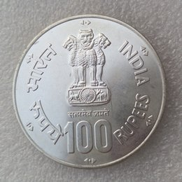 Wholesale nickel plating brass - Indian Republic British Brass Nickel or Silver Plated 1919-1994 B ILO 100rupees Proof Copy Coins