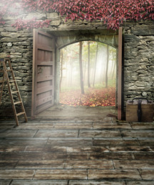 Wholesale Natural Wall Paint - 5x7ft Retro Vintage Photography Backdrops Brick Wall Wooden Door Outside Forest Natural Scenery Backgrounds for Photo Studio