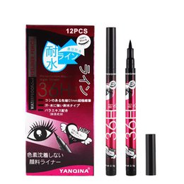 Wholesale Eye Liner Pencil Black Color - Hot sale YANQINA 36H Makeup Eyeliner Pencil Waterproof Black 4 color Eyeliner Pen Liquid Eye liner 12pcs set free shipping