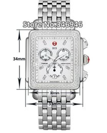 2019 i subacquei guardano analogico digitale Spedizione gratuita Michele Signature DECO Diamanti MOP Diamond Dial Watch da donna MWW06P000099