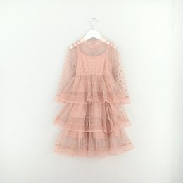 Wholesale Wholesale Childrens Tutu Clothing - Spring Summer Kids Girls Lace Dots Dresses Baby Girl Princess tutu Dress Girl Cake Party Dress 2017 childrens clothing