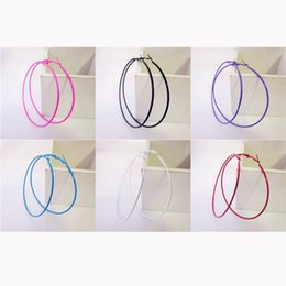 Wholesale Trendy Earrings For Girls - Wholesale- Colorful Sexy Fascinating Big Circle Girls Fashion Hoop Earrings for Women Trendy Piecing Jewelry Diameter 6 Centimeter
