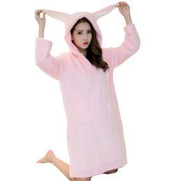 Wholesale Rabbit Pyjamas - Wholesale- 2017 Winter Sleepwear Casual Coral Fleece Night Dresses Patch Rabbit Ears Pyjamas Women Warm Hooded Long Sleeve Night Gown