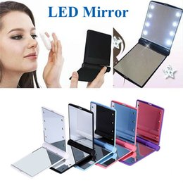 Wholesale Mirror Light Covers - makeup Mirror LED Light Mirror Desktop Portable Compact 8 LED lights Lighted Travel Make up Mirror Flip Cover Mirror OTH312