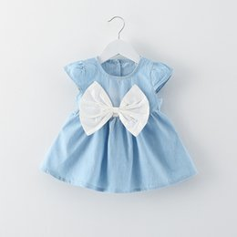 Wholesale Hot Briefs - 2 colors hot Korean styles New Arrivals baby girl short sleeve dress o-enck back with bow denim infant girl dress