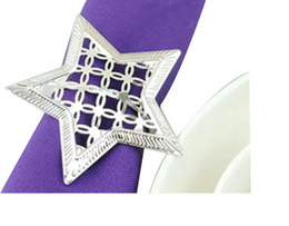 Wholesale Napkin Holders For Table Decoration - silver Napkin Rings wedding napkin holder Wedding favors decoration Supplies pierced star shaped metal ring for napkin table dinnerware LLFA