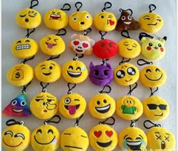 Wholesale Cartoon Kids Bag Strap - BFFA126 MIX STYLE Emoji keychain toys for kids round straps bag emoji keychains emoji Stuffed Plush Doll Toy keyrings for Bag Pendant