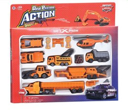Wholesale Toy Bulldozers - truck set excavator toys Alloy and plastic car model suits model toys truck bulldozer excavator helicopter