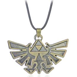 Wholesale Eagle Pendant Necklace - 9Pcs Vintage Copper Plated Alloy Statement triangle Zelda logo Badge mark hawk eagle emblem child Cartoon Pendant Necklace Women 2017 x396