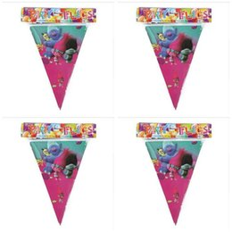 Wholesale Wholesale Happy Birthday - Poke Banner Trolls Moana Theme Flag Party Decorations Baby Happy Birthday Wedding Event Party Supplies for Kids DHL Free Shipping