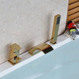 Wholesale Fix Single Handle Shower Faucet - Wholesale and Retail Deck Mounted Shower Bath Faucet Single Handle Bathtub Mixers Tub Filler Golden Finish