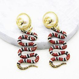 Wholesale Diamond Dangle - 2017 luxury fashion women's runway earrings vintage gold sparkling diamond pearl snake earrings vintage Dangle & Chandelier G08-5