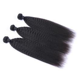 Wholesale Kinky Straight Virgin Hair Extensions - Unprocessed Indian Human Remy Virgin Hair Kinky Straight Hair Weaves Hair Extensions Natural Color 100g bundle Double Wefts 3Bundles lot