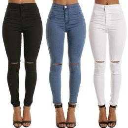 2019 piedi in nylon a ginocchio Miglior regalo Scoppi di jeans elastici Slim era polsino sottile 9 punti piedi pantaloni femminili JW023 Jeans da donna piedi in nylon a ginocchio economici