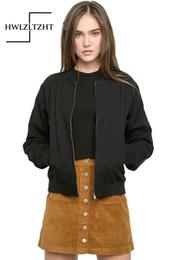 Wholesale Boy Coat Army - Wholesale- 2017 Spring Bomber Jacket Boy Friend Aviator Jacket Coat Fashion Army Green Black Women Slim Long Sleeve Basic Coats Outerwear