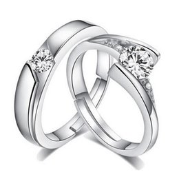 Wholesale Couple Rings Swiss Diamond - Fashion 925 Sterling Silver Plated Swiss Diamond Couple Bands Ring Engagement Cubic Zirconia Wedding Band Lover Promise Rings