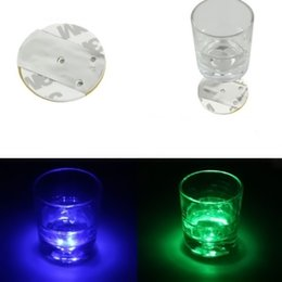 Wholesale Led Color Changing Light Coasters - Wholesale- Top Quality Promotion Price LED Coaster Flashing Light Bulb Bottle Cup Mat Color Changing Light Up For Club Bar Home Party Use