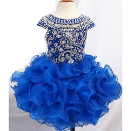 Wholesale Organza Ball Gowns For Children - Royal Blue Ball Gown Girls Pageant Dresses Organza Puffy Princess Style Cap Sleeve Real Picture Flower Girl Party Gowns For Children