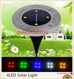 Wholesale Stainless Steel Fence Wholesale - 10PCS Solar Powered 4LED Solar Light Outdoor LED Garden Light Lawn Path Yard Fence Stainless Steel Buried Inground Lamp