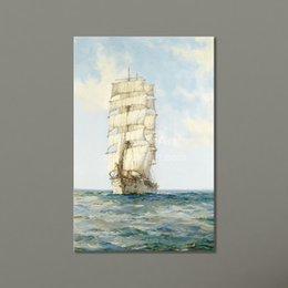 Wholesale Ocean Art Prints - Cheap Wholesale Painting Wall Decorative Prints Ocean Decor Canvas Wall Art Painting Sailing Ship Modular Pictures on the Wall